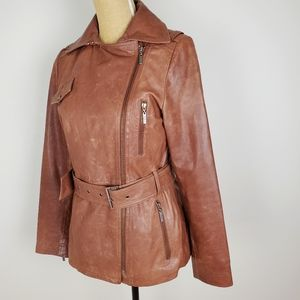 Cole haan brown leather lambskin leather jacket